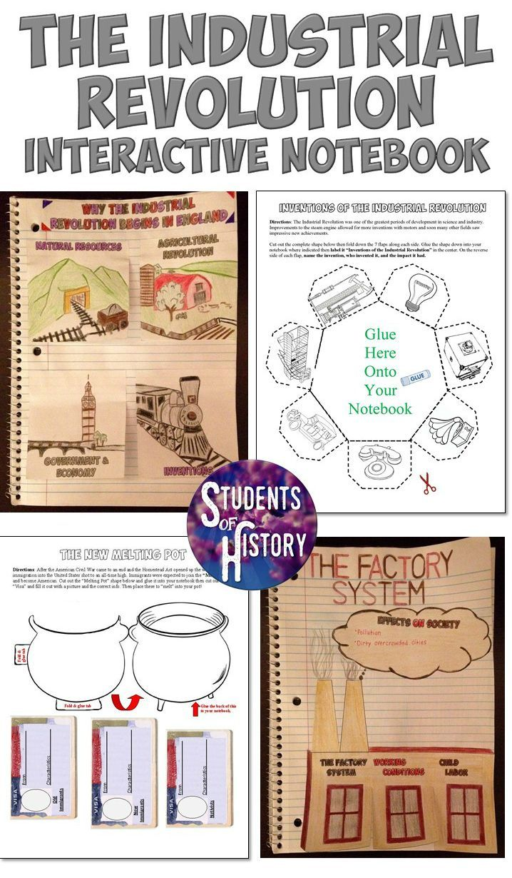 Industrial Revolution Interactive Notebook with 12 pages of creative, engaging Interactive Notebook pages include graphic organizers, creative foldables, and more!
