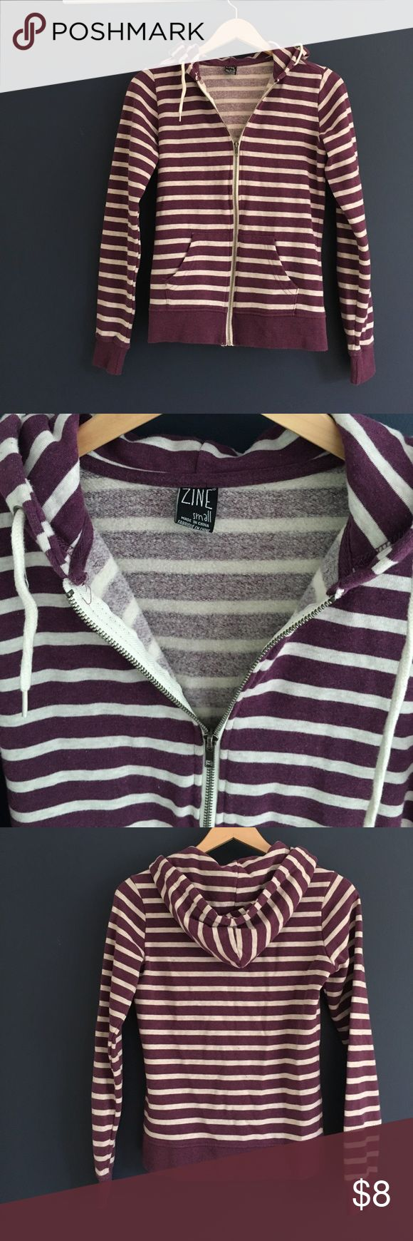 Striped Zumies hoodie Purple and beige/gray zip up hoodie with very soft and comfy interior Tops Sweatshirts & Hoodies