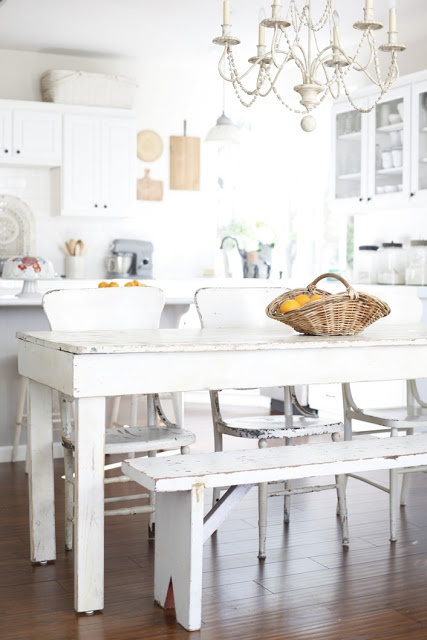 Shabby Chic white kitchen bench dining table This would be perfect in our new kitchen