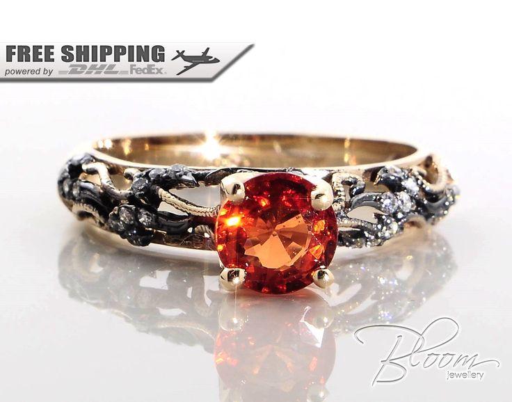 Orange Sapphire Gold Ring Vintage Style Gold Ring Natural Sapphire Engagement Ring 18K Gold Sapphire Ring Orange Sapphire Ring by BloomDiamonds on Etsy https://www.etsy.com/listing/220515026/orange-sapphire-gold-ring-vintage-style