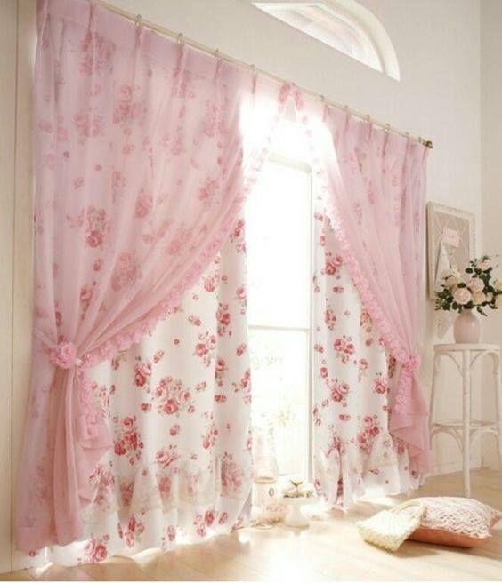 Cortina rosada para dormitorio de niña