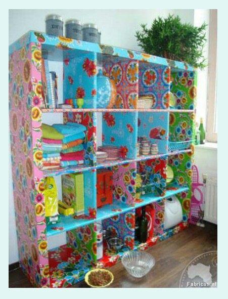 Ikea-kast met Kitsch Kitchen tafelzeil. Cupboard with oilcloth. #ikeahack