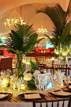 palm leaf wedding decor - Google Search