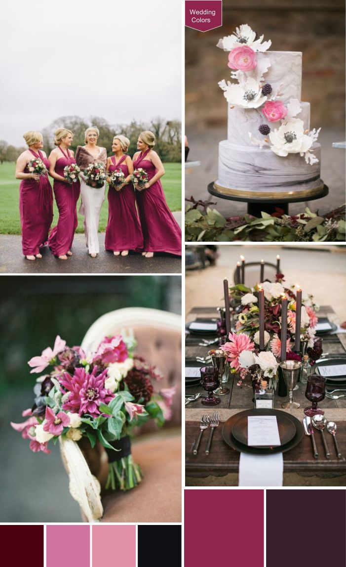 Raspberry, Aubergine & Blush Wedding Palette