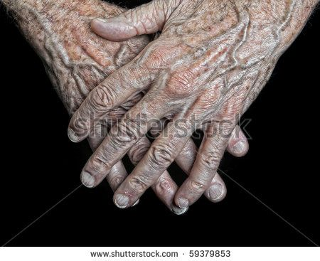 interesting hands | Interesting Image Of an Old Mans Hands on Black - stock photo