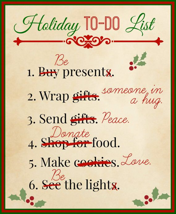 $5. Holiday To-Do List Printable. Perfect for putting in a frame and setting out for decoration during the holidays. You can also print it out
