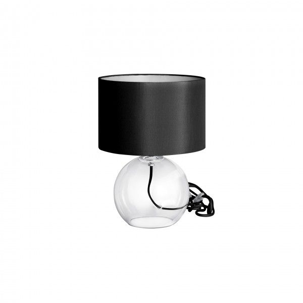 Abajur Incolore M, base transparente, fio e cupula preto,  Medidas: 25x34cm,  Material: Vidro e tecido,  Cor: Transparente e preto