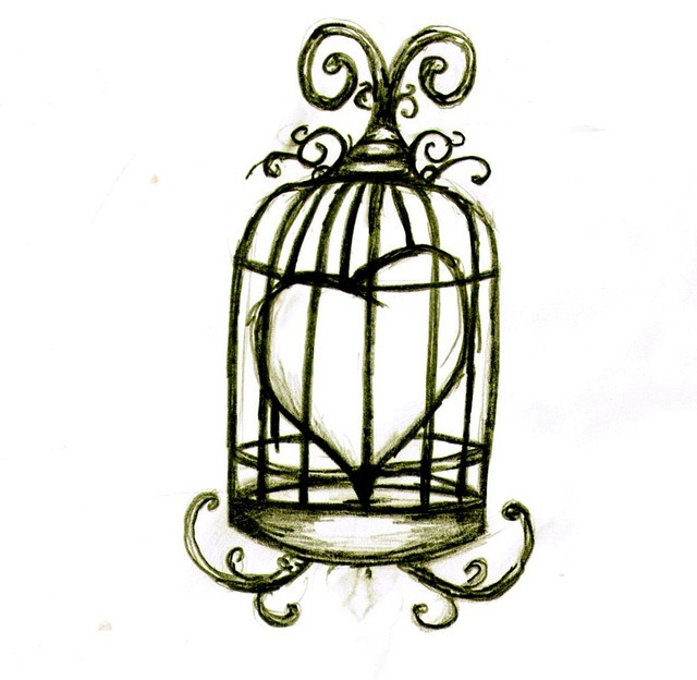 Very cute , love the idea - bird cage tattoo. this is kinda cute! and then potentially my husband could have a tat key?