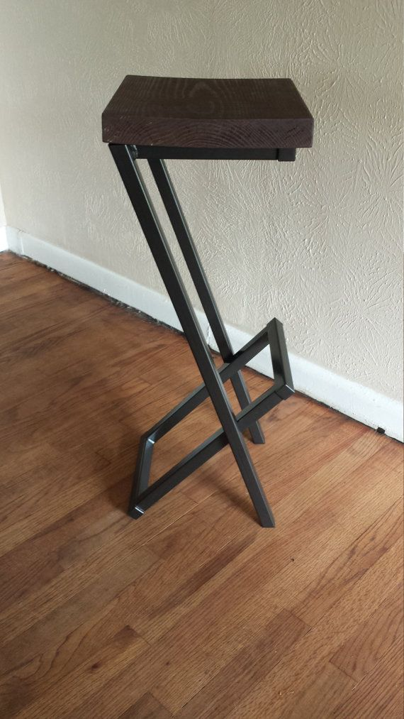 (Lighter stained wood available)  Any height available.  This modern bar stool is a unique design made out of 1 inch square tubing and 2 reclamed