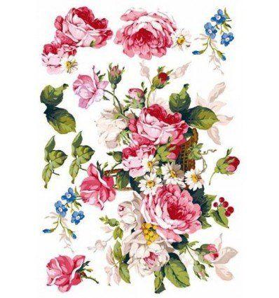 Papel de arroz - Cesta de Flores - 50x35