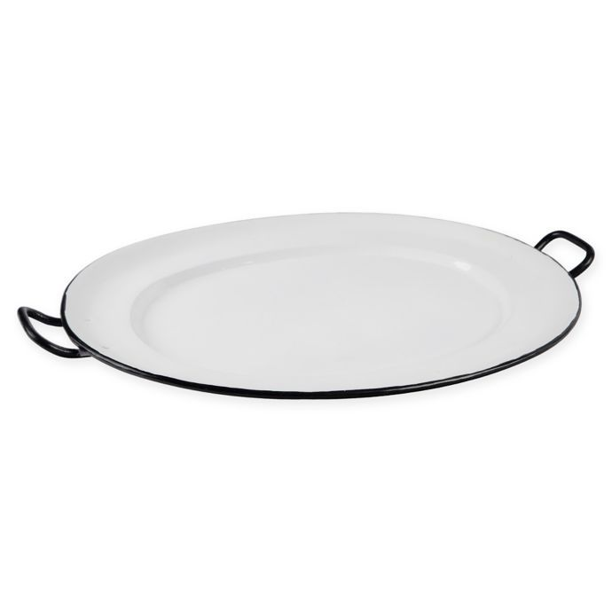 Home Essentials Beyond Enamel Oval Serving Platter In White