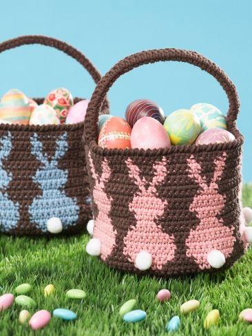 Bunny Egg Basket - Free Crochet Pattern - (yarnspirations)