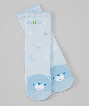 Look what I found on #zulily! Piyo Piyo Blue 'Abby' Bear Nautical Socks by Piyo Piyo #zulilyfinds