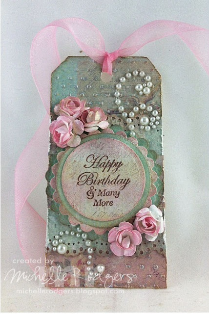 Tag I made for a friend's birthday gift using JustRite Forever Friends sentiment.  @JustRite Papercraft, Inc.