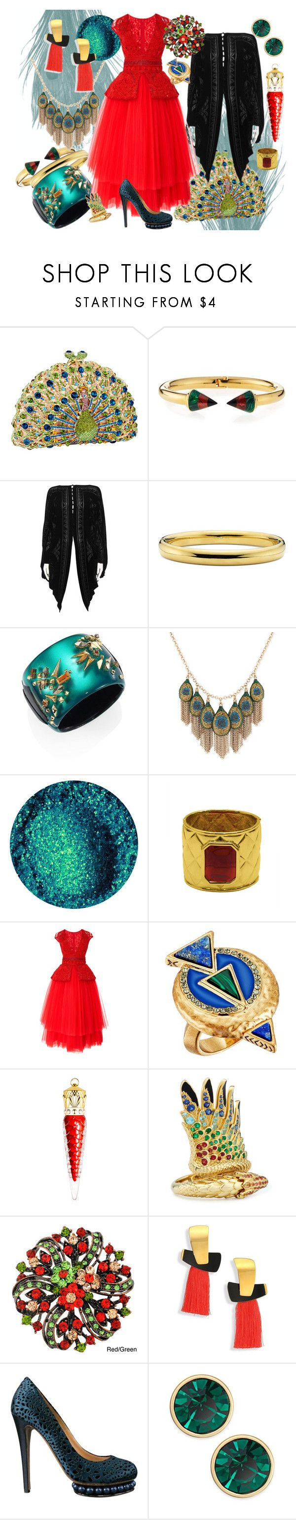 """""""Crimson Peacock Queen"""" by strawberryblueart on Polyvore featuring Vita Fede, Patricia Lester, Alexis Bittar, Lucky Brand, Valentino, Naeem Khan, House of Harlow 1960, Christian Louboutin, Lalique and Lizzie Fortunato"""