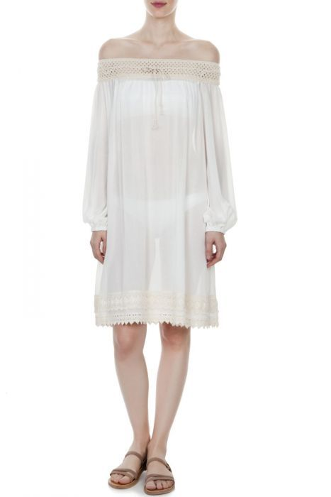 #despinavandicollection  Off-the-shoulder crochet-trimmed caftan