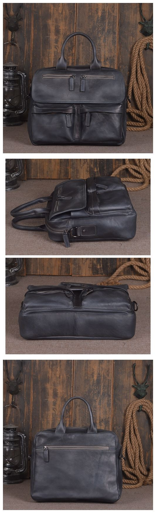 Handmade Vintage Genuine Leather Briefcase Men's Business Bag Handbag Messenger Bag Laptop Bag 14134 Overview: Design: Vintage Leather Men Briefcase In Stock: 4-5 days For Making Include: Only Leather