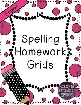 4 Free Spelling Homework Grids for grade 1, 2, or 3!  Just print and add your spelling list!