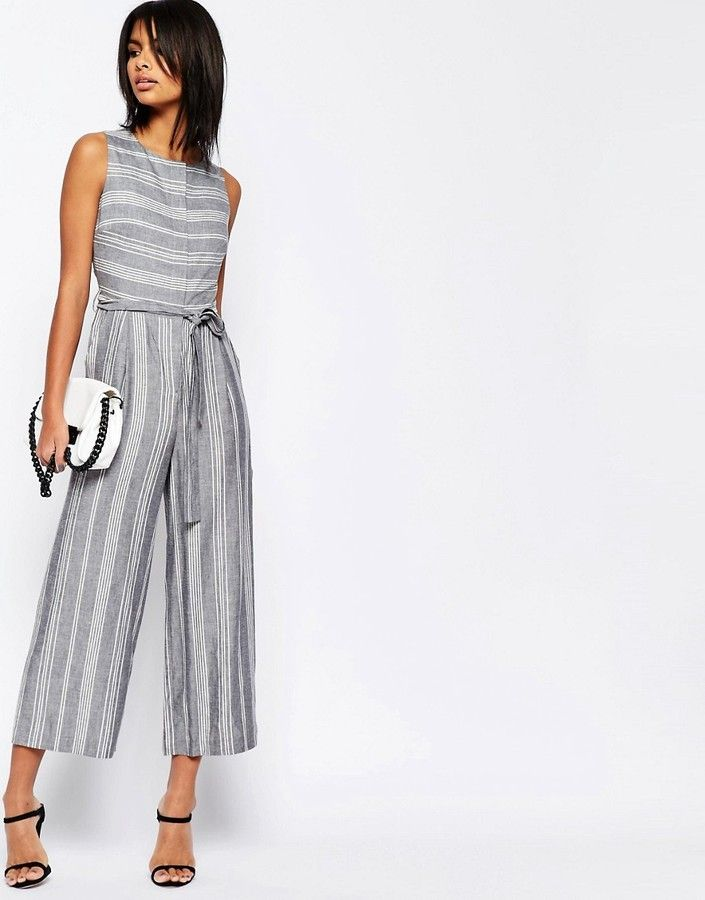 ASOS COLLECTION ASOS Stripe Jumpsuit in Natural Fabric