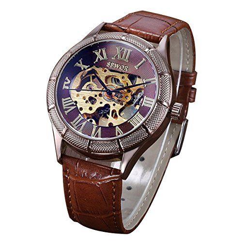 XLORDX Roman Mechanisch Armbanduhr Skelett mechanische Uhr Leder Gold Braun - http://on-line-kaufen.de/xlordx/xlordx-roman-mechanisch-armbanduhr-skelett-uhr