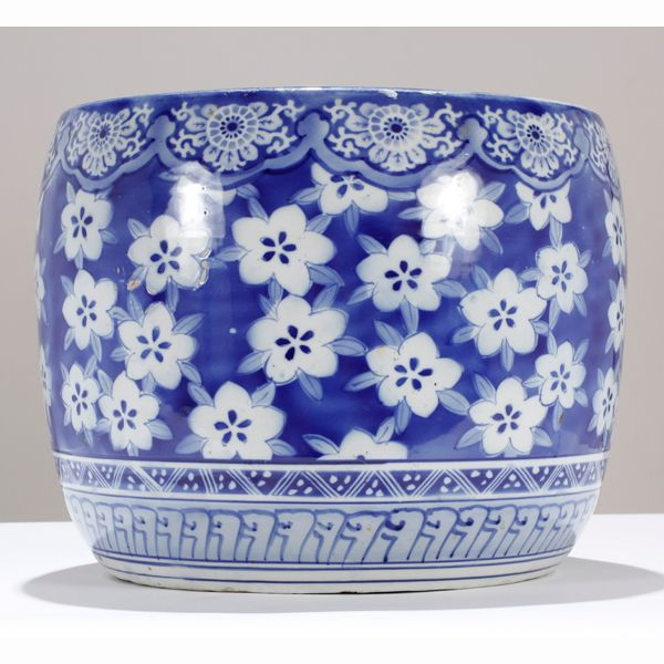 blue & white hibachi with cherry blossom design