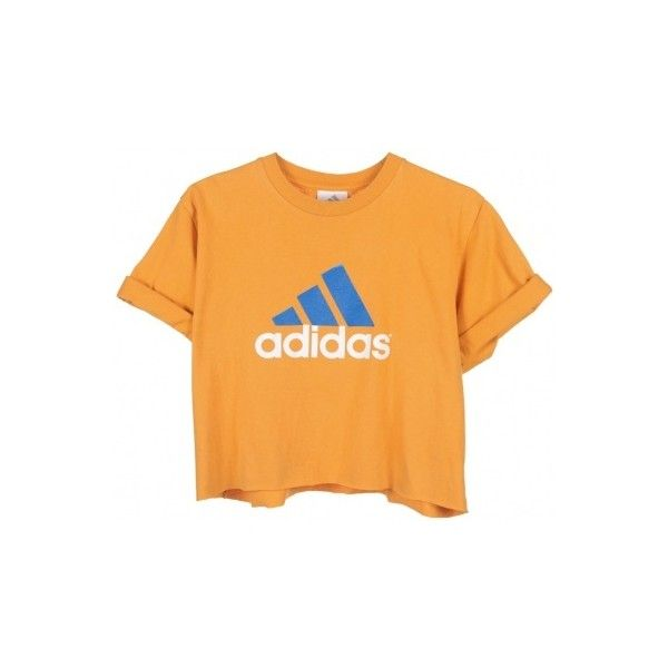 Rokit Recycled Orange 'Adidas' Cropped T-Shirt - Vintage clothing from... ❤ liked on Polyvore featuring tops, t-shirts, shirts, crop tops, yellow tee, vintage t shirts, orange crop top, t shirts and orange tee