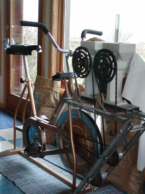 Grind flour while getting exercise! Hook your old bicycle up to a Country Living Grain Mill (or two!).