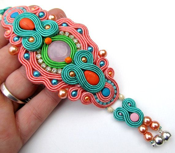 Pastel Soutache Bracelet Glamour Bold Gift by IncrediblesTN