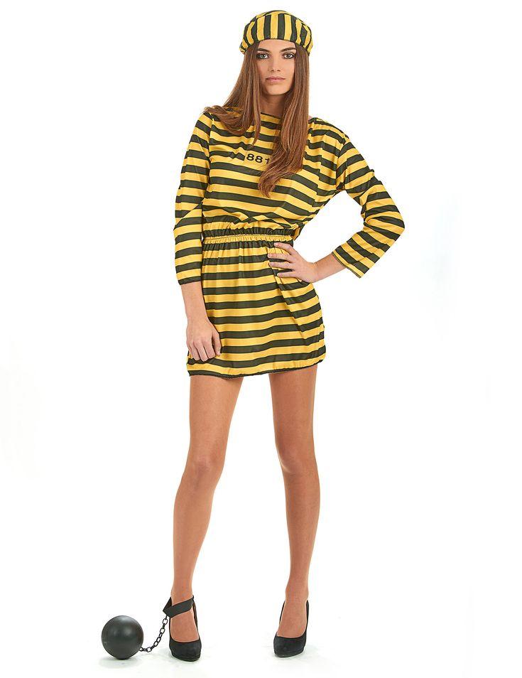 Gele gevangenisplunje voor vrouwen: Deze zwart-geel gestreepte gevangenisplunje voor vrouwen bestaat uit een jurk die elastisch is in de taille en een hoedje.Let op: Schoenen en accessoires niet inbegrepen.De jurk is...