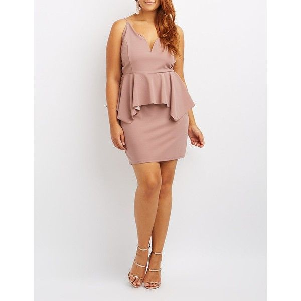 Charlotte Russe Peplum Bodycon Dress ($38) ❤ liked on Polyvore featuring plus size women's fashion, plus size clothing, plus size dresses, mauve, plus size bodycon dresses, mauve bodycon dress, bodycon cocktail dresses, body con dresses and sexy bodycon dresses