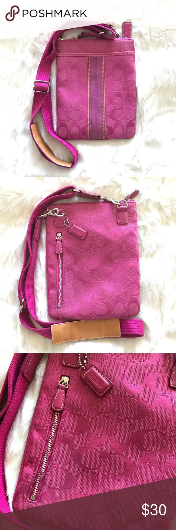"""Pink Coach Swingpack Crossbody bag This authentic bag was gently loved but still has room for many more fun outings to come! This bag is so comfortable, thanks to the adjustable leather shoulder band on the strap. There is some light discoloration on the suede stripe down the center front and also a little discoloration near the zipper on the back, which I tried to show in the pictures. It's very minor. Flap on front of bag, side zipper on back, and top zipper for main compartment. 18"""" drop…"""