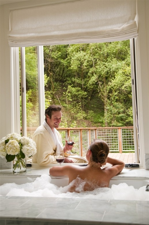 Bubble bath, wine, and flowers = a great way to spend Valentine's Day.. At The Farmhouse Inn in Forestville, CA.