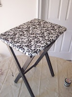 Side table made from a TV tray