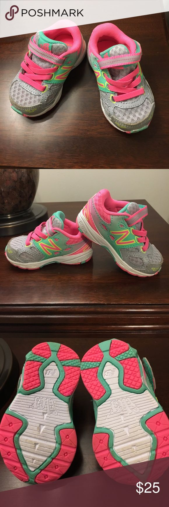 Infant size 3 New Balance - pink/gray/green Infant sneakers - size 3 New Balance - pink/gray/green, excellent used condition!  Hardly any wear on soles, bought them right before a growth spurt hit, so she only wore them a handful of times.  #greatjobmom ☺️ New Balance Shoes Sneakers