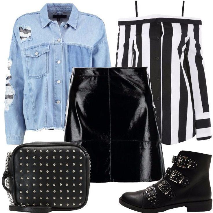 L'outfit è composto da una minigonna nera, un paio di stivaletti neri in fintapelle, una borsa nera in fintapelle, una giacca di jeans e da una camicetta in cotone.