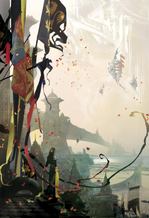The brilliant Stephan Martiniere. Probably my first choice of an illustrator for any of my future books. His covers for Kay Kenyon's Entire and the Rose series (this is from City Without End) and Karl Schroeder's Virga series were what made my senses completely absorb those worlds. The collection of his works, Quantumscapes, is amazing inspiration.