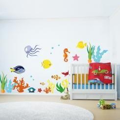 Kit Cameretta Under The Sea Sotto il Mare Wall Sticker Adesivo da Muro Componibile