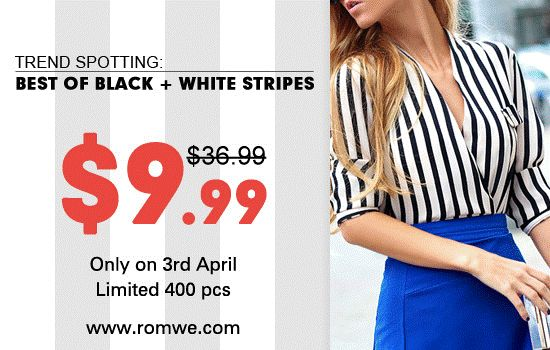 White And Black Fluid Stri pe d Shirt 1am 3rd April GMT, lasts only 24 hours! 400 pieces for $9.99! Don't miss out. Free shipping. It'll help you save 75% in total http://www.romwe.com/romwe-white-and-black-fluid-striped-shirt-p-59644.html?ofatasimpla