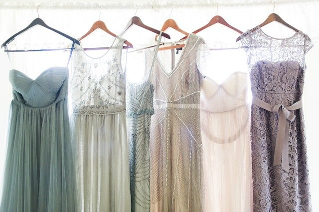 Classically romantic bridesmaids gowns in muted hues inspiration...
