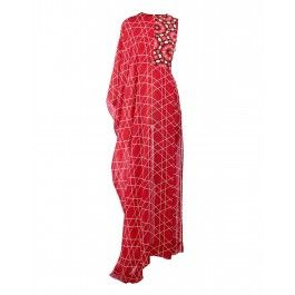 Red Dress with Geometric and Floral Prints