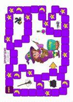 Letterspel Heksen - spelbord. Hierbij horen een uitleg, letterkaarten en plaatjes Gratis download