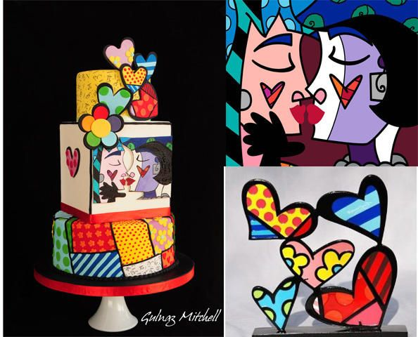 """Sweetheart""cake inspired by Romero Britto - LOVE Britto's style!"
