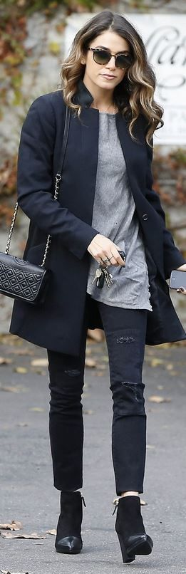 Who made Ashley Greene's black coat, quilted handbag, ankle boots, skinny jeans…