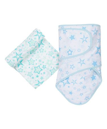 Look what I found on #zulily! Aqua Stars Swaddle Wrap & Muslin Swaddling Blanket by MiracleWare #zulilyfinds