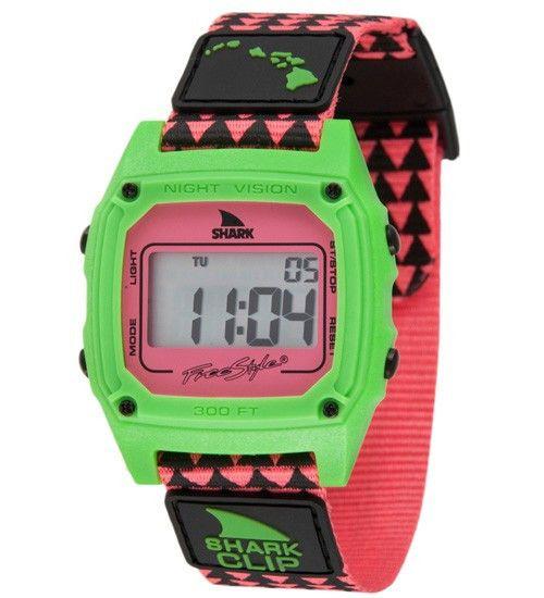 Freestyle Shark Watch Clip Hawaii Pink/ Green