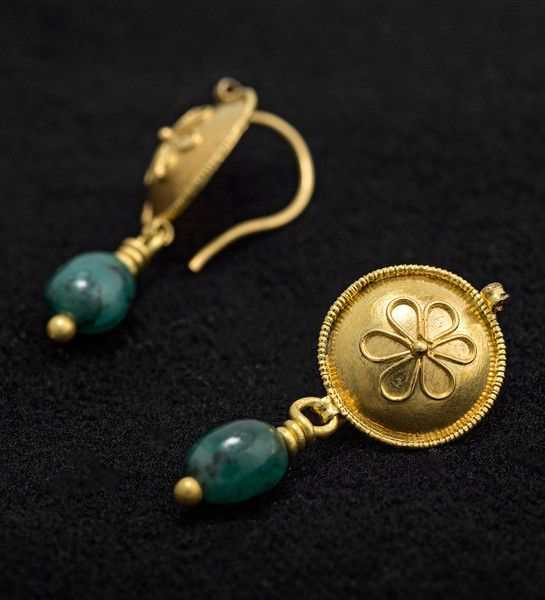 A pair of Gold and Glass ear Pendants                                                                                                                                                                                                                                 Gold and glass.  Hellenistic, 3rd - 1st Century BC.