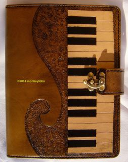Refillable Leather Folio A5 Compendium Journal Diary - Piano Keyboard - Coffee Brown / Black