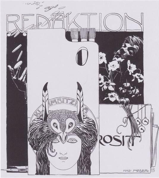 Redaktion Prosit (Happy Editing), illustration with Self-Portrait, by Koloman Moser, 1895. Indian ink on paper; 34 x 42 cm