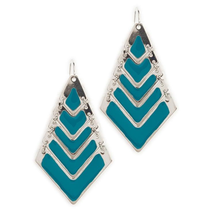 Ballet Jewels Juniors Chevron Sriped Enamel Earrings #VonMaur #BlueandSilver
