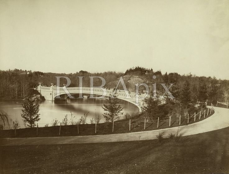 One of a series of early views of Central Park in New York (with nothing on the skyline). KR (Bow Bridge, Central Park designed by Calvert Vaux, photographed in the 1860s) [RIBA13664]